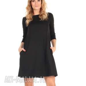 sukienka rozkloszowana czarna,krótka, lalu, sukienka, dzianina