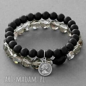glass pearl & smokey crystal set with pendants lavoga - kryształek