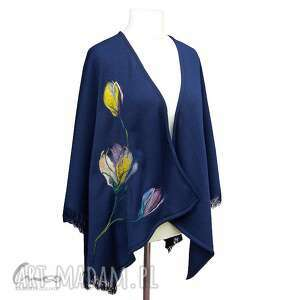 chusta - ponczo granat kwiaty, ponczo, poncho, chusta, granat, wełna ubrania