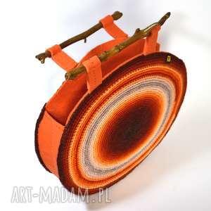 torba okrągła pomarańczowo-ruda, torebka, torba, cieniowana, unikat, prezent