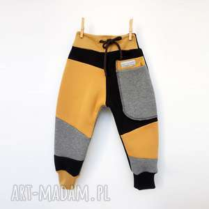 handmade ubranka patch pants spodnie 104- 152 cm szary & czarny