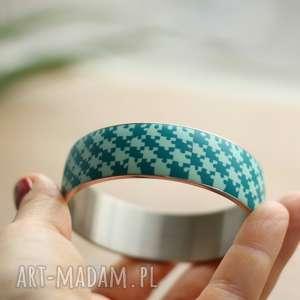 Puzzle, bransoleta z polymer clay i stali, bransoletki, puzzle, geometryczne