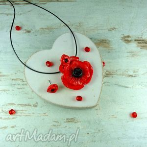 kameleon komplet biżuterii czerwone maki, kwiat, komplet, szyfty, wkrętki