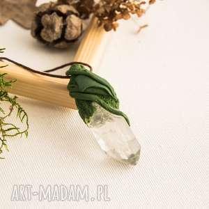 Wisior z kryształem górskim, wisior, kryształ, kwarc, bluszcz, las, elfy