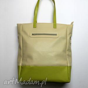 Prezent Shopper Bag - jasny beż i dodatki limonka, elegancka, nowoczesna, prezent