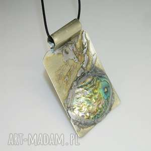 Muszla paua-N54, wisior, muszla, unikatowa-biżuteria, metaloplastyka