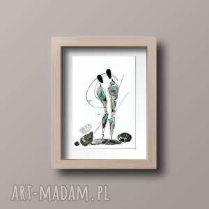 obraz a4 namalowany ręcznie, minimalizm, abstrakcja czarno-biała - obrazy