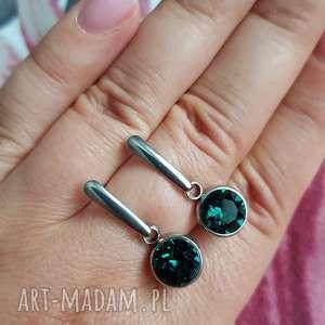 kolczyki crystals emerald, kolczyki, sztyfty, kryształki, swarovski, stal