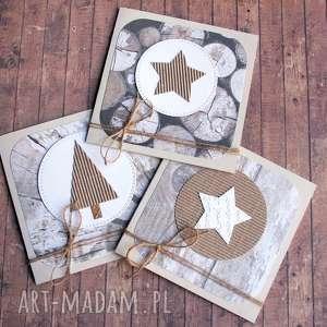 święta prezent 3 KARTKI ŚWIĄTECZNE :: bielone drewno,