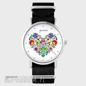 zegarek - serce folkowe czarny, nato, zegarek, bransoletka, folkowy