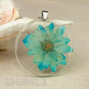 Prezent z140 Naszyjnik z suszonymi kwiatami, medalion kwiatem, kwiaty w żywicy