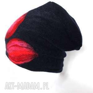 czapka wełniana damska czarna, czapka, folk, etno, wełna, zima,