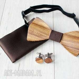 muchy i muszki zestaw drewniana muszka poszetka spinki blank brązowy, drewniany