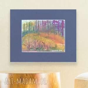 akwarela pejzaż, las obrazek, ręcznie malowany pejzaż szkic, widok