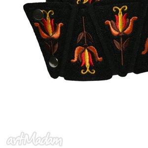 pasek paski pomarańczowe pas damski haftowany inspiracja