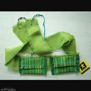 trendy paski pasek pas zielony z kieszeniami:)