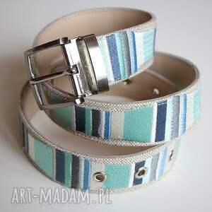 ręcznie robione paski pasek stripes haftowany mięta