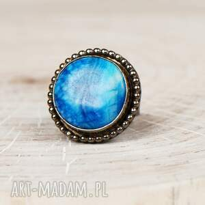 pierścionki z-niebieskim-agatem a600 srebrny pierścionek