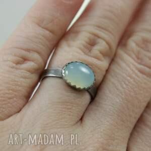 modne pierścionki pierścionek agat aqua w srebrze -