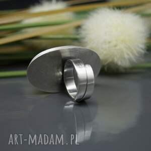 pierścionek białe agat dendrytowy - srebrny