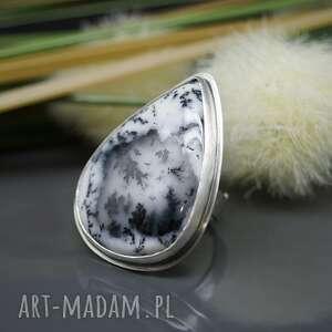 czarne agat dendrytowy - pierścionek