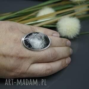 atrakcyjne duży agat dendrytowy - srebrny
