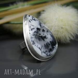 Agat dendrytowy - pierścionek Zimowy las - duży