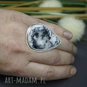 modne regulowany agat dendrytowy - pierścionek