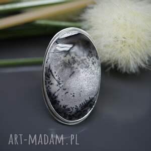BranickaArt czarne srebrny agat dendrytowy
