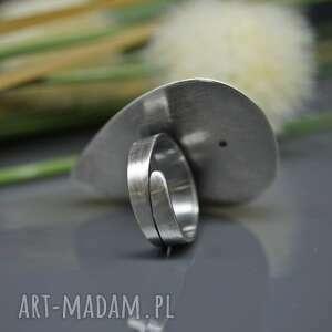 pierścionek białe agat dendrytowy