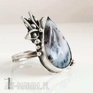 Anemone srebrny pierścień z agatem dendrytowym - pierścionek