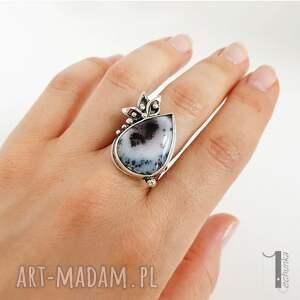 dendrytowy anemone srebrny pierścień z agatem
