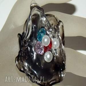 handmade pierścionki akryl artystyczny pierścionek z perełkami