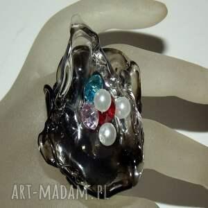 handmade pierścionki pierścionek artystyczny z perełkami