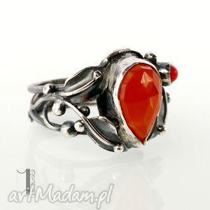 srebro pierścionki czerwone aurantia srebrny pierścionek