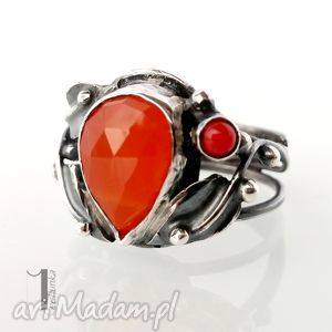 pomarańczowe pierścionki metaloplastyka aurantia srebrny pierścionek