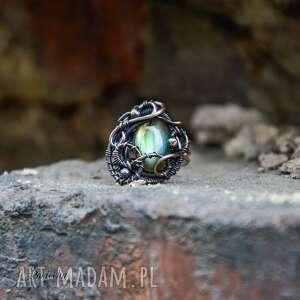 hand-made pierścionki pierścionek aurora - z labradorytem