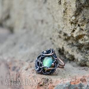 brązowe pierścionki regulowany-rozmiar aurora - pierścionek z labradorytem