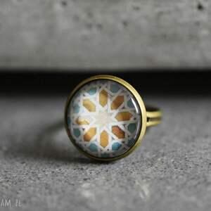 ręcznie wykonane pierścionki płytki azulejos iii brązowy pierścionek