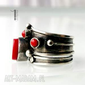 srebro pierścionki czerwone biedroneczki są w kropeczki i to