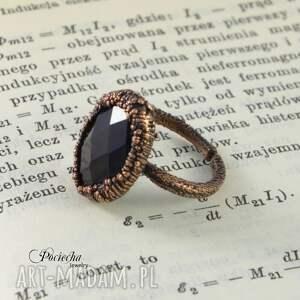 pierścionki miedź black crystal - pierścionek