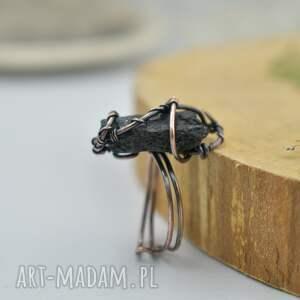czarny turmalin black - pierścionek z czarnym