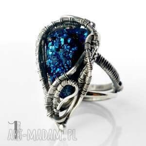 pierścionek pierścionki niebieskie blue alien i srebrny pierścień
