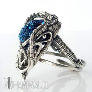 pierścionki pierścionek blue alien i srebrny pierścień