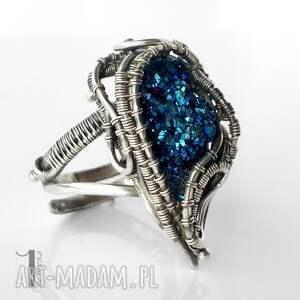 pierścionki regulowany blue alien i srebrny pierścień