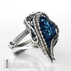 szare pierścionki srebro blue alien i srebrny pierścień