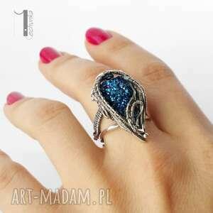 regulowany pierścionki blue alien i srebrny pierścień