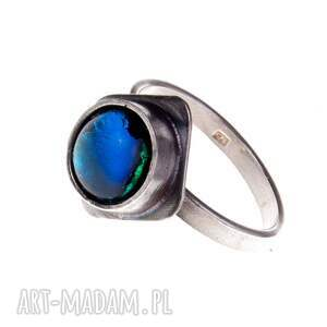 niebieskie szary blue -pierścionek srebrny a422