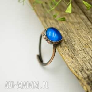 pierścionki uniwersalny-rozmiar blue raw - pierścionek ze szkłem
