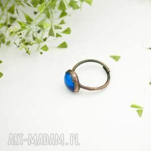 pierścionki pierścionek-duży blue raw - pierścionek ze szkłem